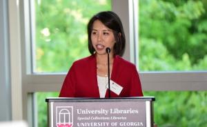 Jia Liu speaks to Coca-Cola First Generation Scholars