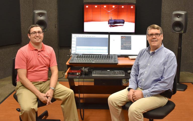Music faculty in recording room