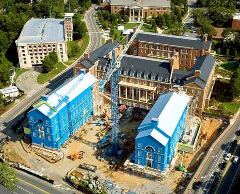 Work continues on Phase III of the Business Learning Community at Baxter and Lumpkin streets. (Photo by Andrew Davis Tucker)
