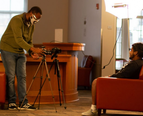 students film in empty gathering space
