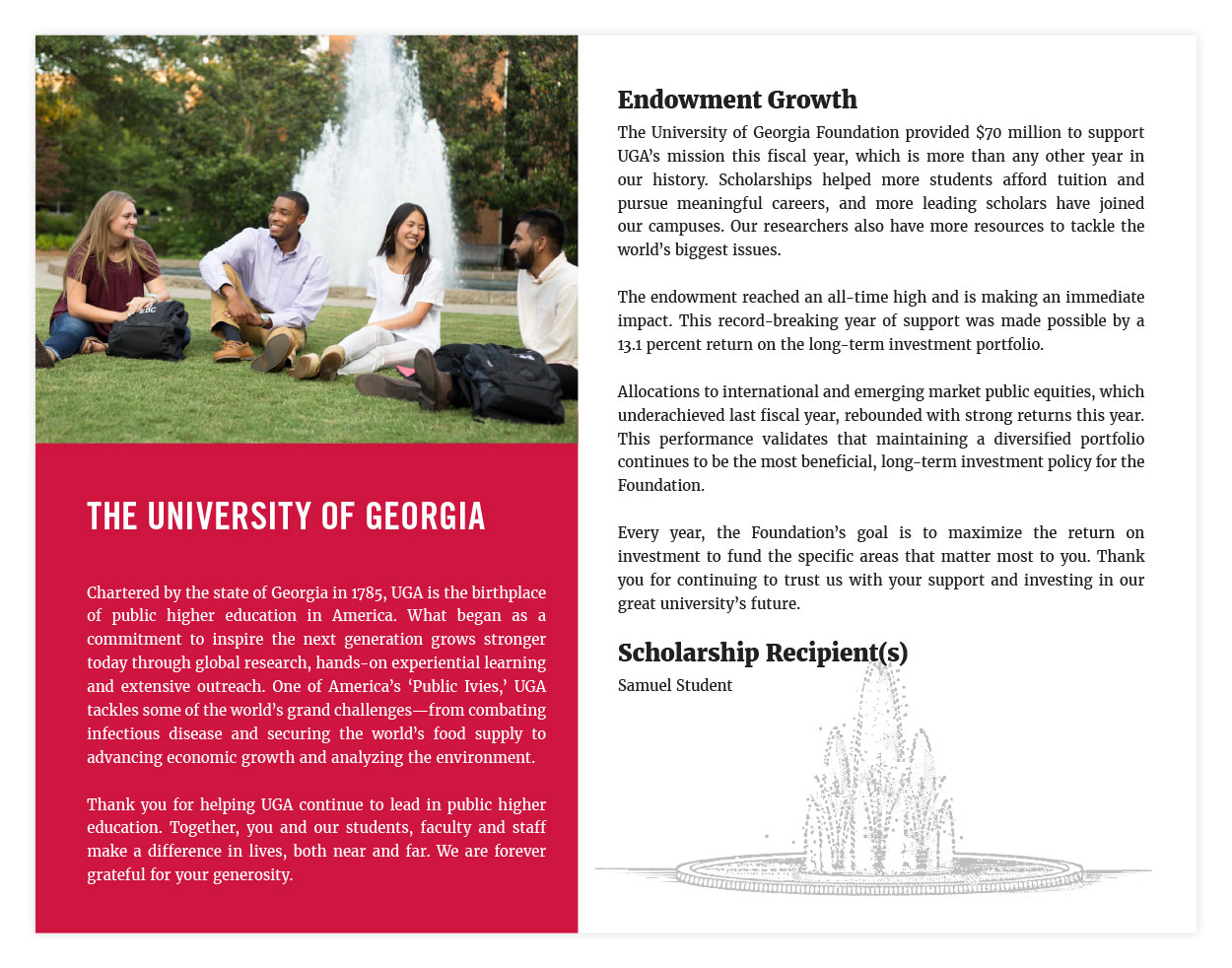Sample Endowment Brochure Right Panel